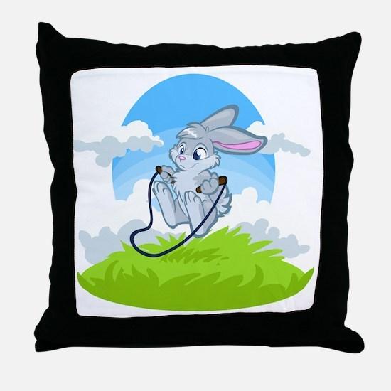 Bunny Jump Rope Throw Pillow