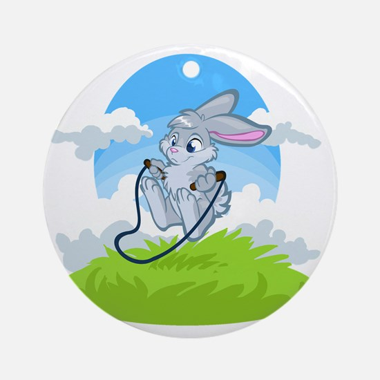 Bunny Jump Rope Round Ornament