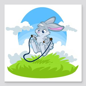 "Bunny Jump Rope Square Car Magnet 3"" x 3"""