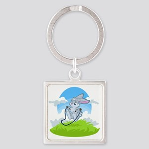 Bunny Jump Rope Square Keychain