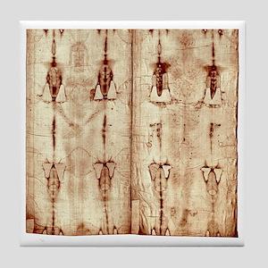 Shroud of Turin - Full Length Front-B Tile Coaster