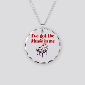 PIANO PLAYER Necklace Circle Charm