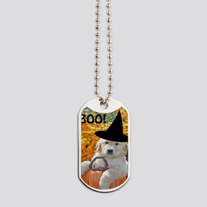 Happy Halloween Funny Puppy Witch Greetin Dog Tags