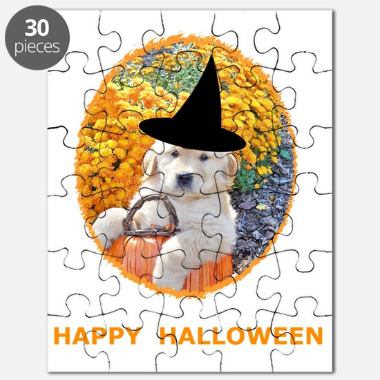 Halloween Funny Puppy Witch T-Shirts Puzzle