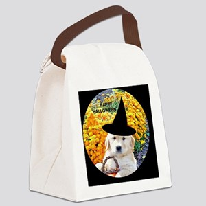 Halloween Funny Puppy Witch Butto Canvas Lunch Bag