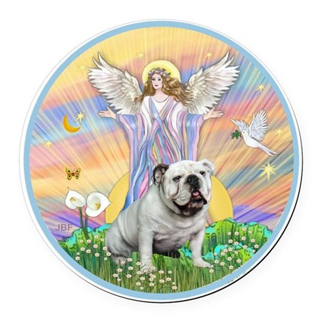 Blessings - English Bulldog (whit Round Car Magnet