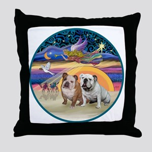 Xmas Star (R) - Two English Bulldogs Throw Pillow