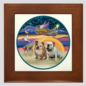 Xmas Star (R) - Two English Bulldogs Framed Tile