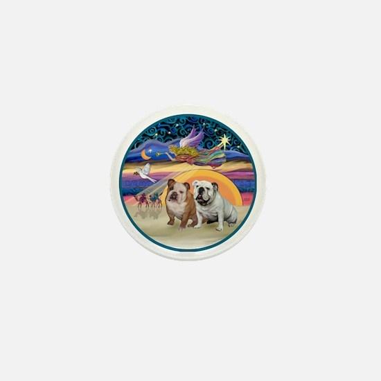 Xmas Star (R) - Two English Bulldogs Mini Button