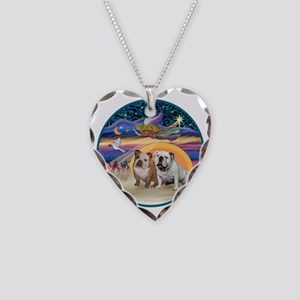 Xmas Star (R) - Two English B Necklace Heart Charm