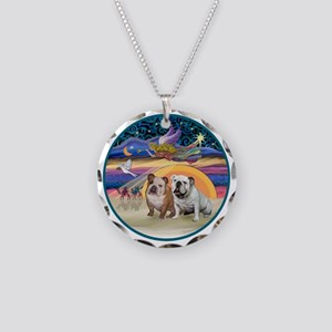 Xmas Star (R) - Two English  Necklace Circle Charm