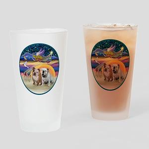Xmas Star (R) - Two English Bulldog Drinking Glass