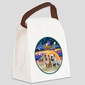 Xmas Star (R) - Two English Bulld Canvas Lunch Bag
