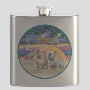 Xmas Star (R) - Two English Bulldogs Flask