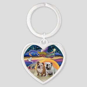 Xmas Star (R) - Two English Bulldog Heart Keychain