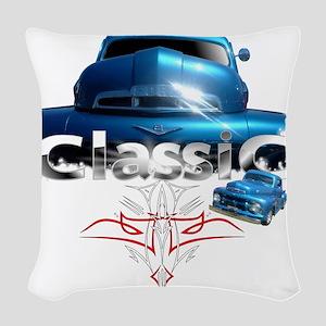 Blue_pinstripe Woven Throw Pillow