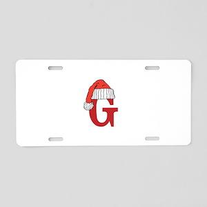 Letter G Christmas Monogram Aluminum License Plate