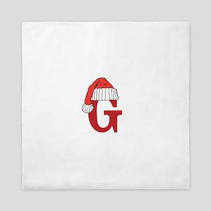 Letter G Christmas Monogram Queen Duvet