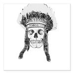 Skull Indian Headdress Square Car Magnet 3