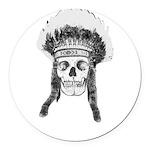Skull Indian Headdress Round Car Magnet