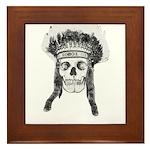 Skull Indian Headdress Framed Tile