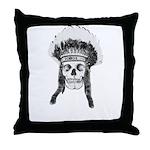 Skull Indian Headdress Throw Pillow