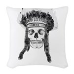 Skull Indian Headdress Woven Throw Pillow