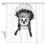 Skull Indian Headdress Shower Curtain