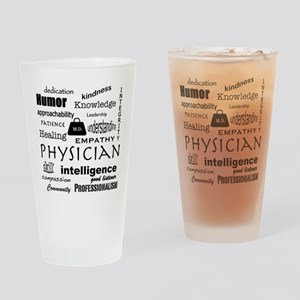 Physician Word Cloud/Black+Medical Bag Drinking Gl