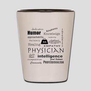 Physician Word Cloud/Black+Medical Bag Shot Glass