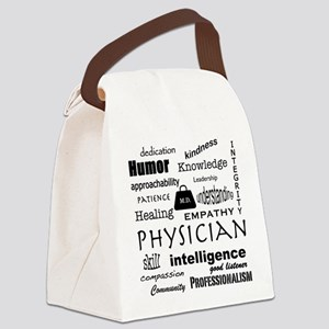 Physician Word Cloud/Black+Medical Bag Canvas Lunc
