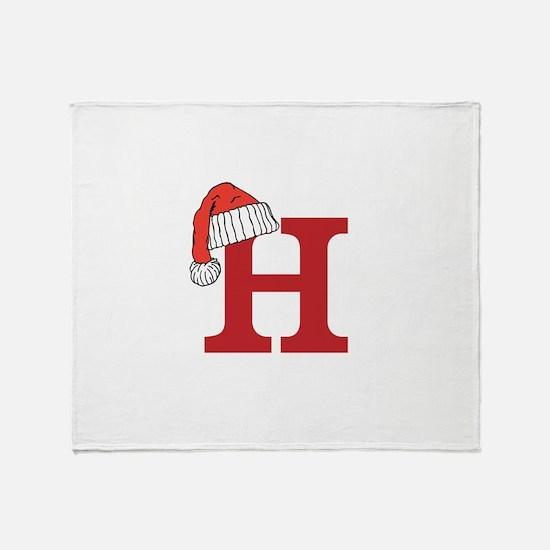 Letter H Christmas Monogram Throw Blanket