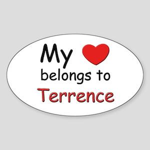 My heart belongs to terrence Oval Sticker
