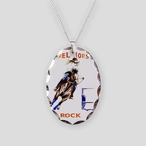 Barrel Horses Rock Trans Necklace Oval Charm