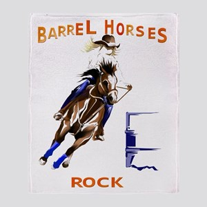 Barrel Horses Rock Trans Throw Blanket