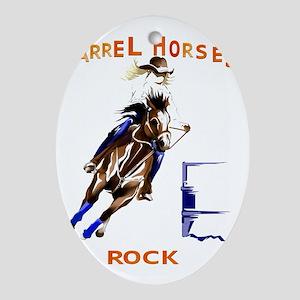 Barrel Horses Rock Trans Oval Ornament