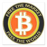 Bitcoin-8 Square Car Magnet 3