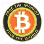 Bitcoin-8 Square Car Magnet 3