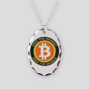 Bitcoin-8 Necklace Oval Charm