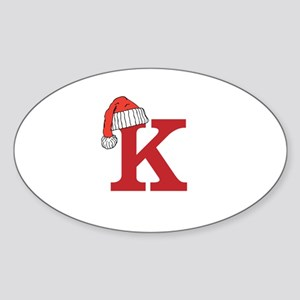 Letter K Christmas Monogram Sticker