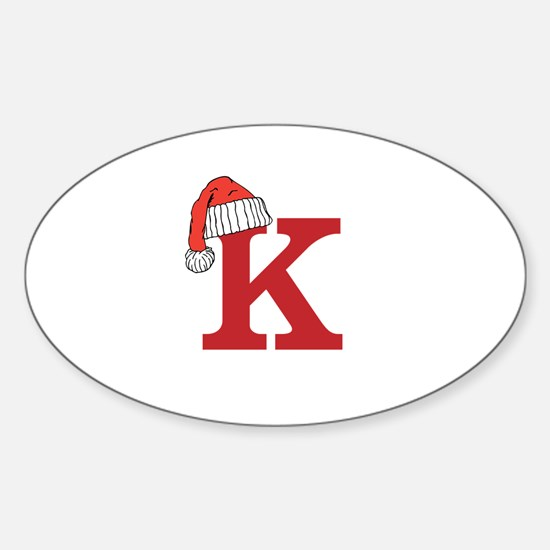 Letter K Christmas Monogram Decal