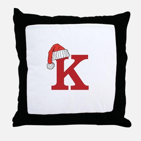 Letter K Christmas Monogram Throw Pillow