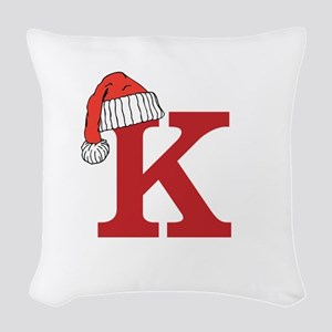 Letter K Christmas Monogram Woven Throw Pillow