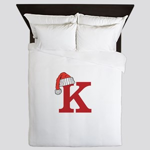 Letter K Christmas Monogram Queen Duvet