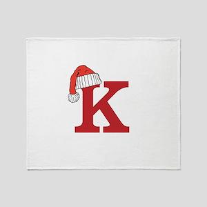 Letter K Christmas Monogram Throw Blanket