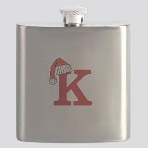 Letter K Christmas Monogram Flask