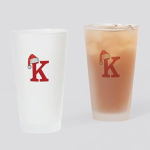 Letter K Christmas Monogram Drinking Glass