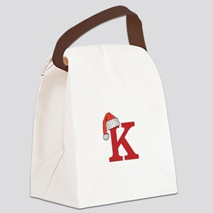 Letter K Christmas Monogram Canvas Lunch Bag
