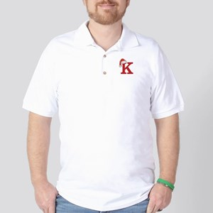 Letter K Christmas Monogram Golf Shirt