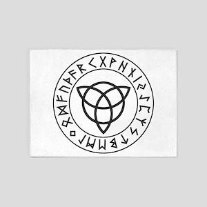 Triquetra Reversed Rune Shield 5'x7'Area Rug